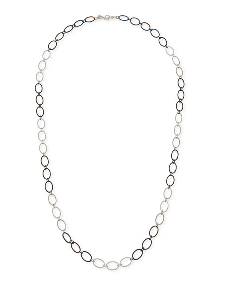 Armenta New World Large Silver Oval Link Necklace,