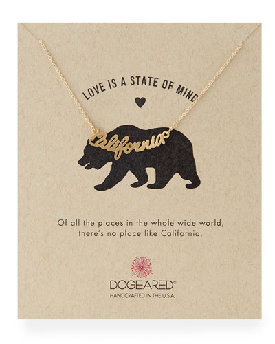Gold-Dipped California Script Necklace