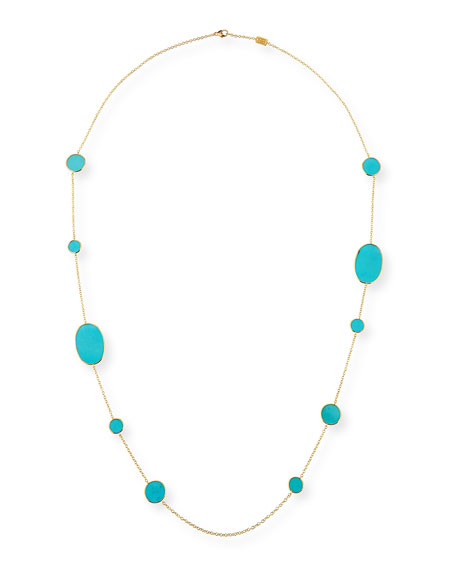 Ippolita 18k Rock Candy Turquoise Station Necklace, 37