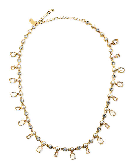 kate spade new york pearly crystal-drop necklace