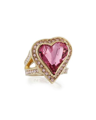 Multi Tonal Crystal Heart Ring