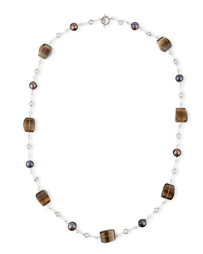 Verona Twisted Quartz & Pearl Necklace, 40