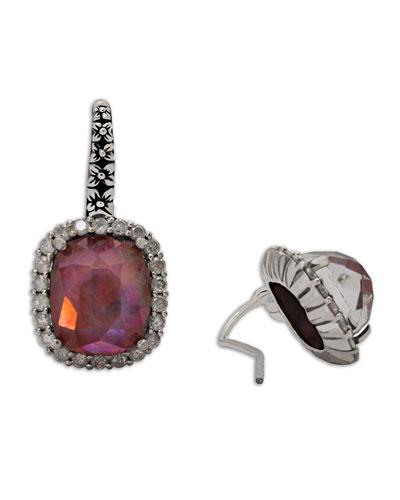 Verona Garnet Triplet & Icy Diamond Earrings