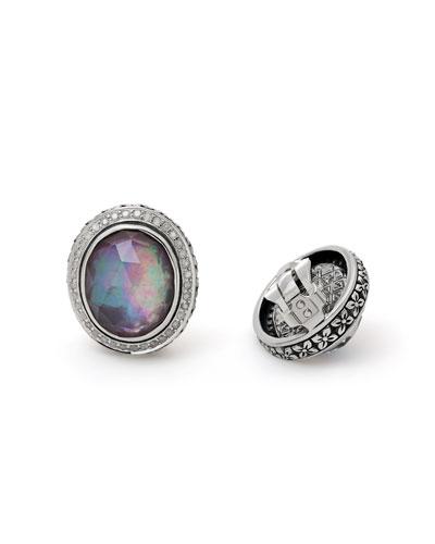Verona Oval Triplet Diamond Button Clip Earrings