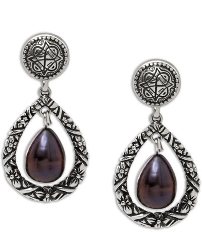 Purple Pearl Engraved Drop Earrings