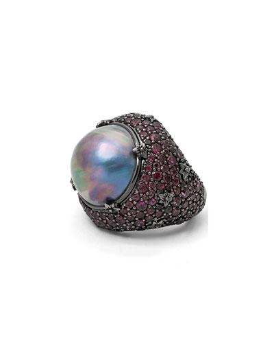 Verona Mabe Pearl & Rhodolite Garnet Ring