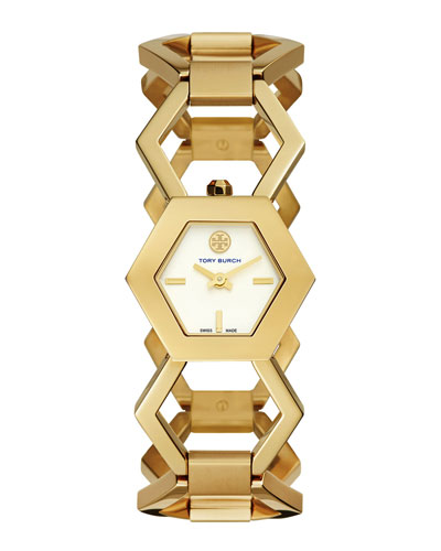 Amelia Golden Hexagon-Link Bracelet Watch