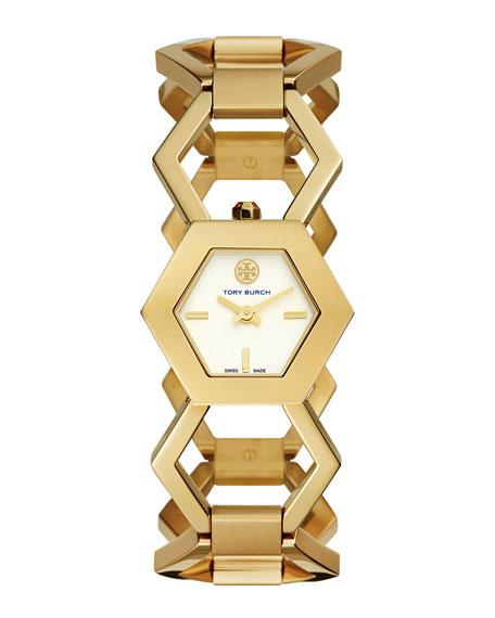 Amelia Golden Hexagon-Link Bracelet Watch