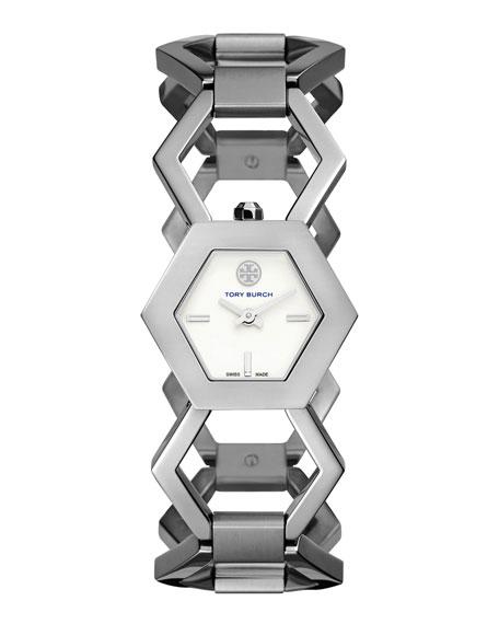 Tory Burch Watches Amelia Silvertone Hexagon-Link Bracelet Watch