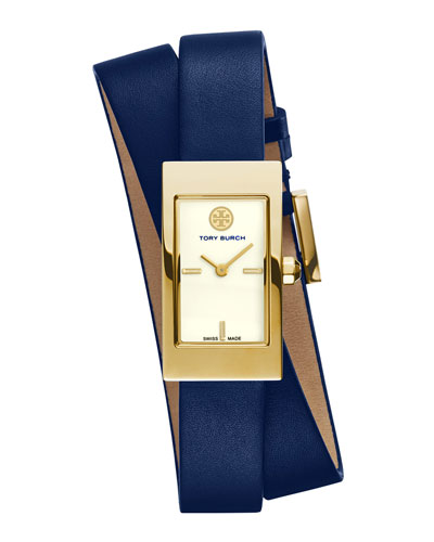 Tory Burch Watches Buddy Signature Double-Wrap Watch, Navy