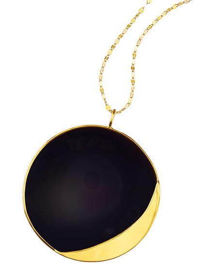 Lana 14k Elite Small Jet Disc Onyx Necklace
