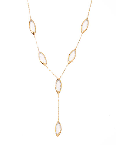 14k Elite Jetset Marquise Crystal Lariat Necklace