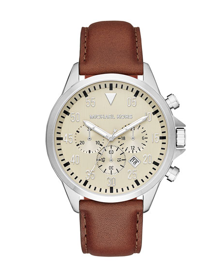 Michael Kors Gage 45mm Leather Strap Watch