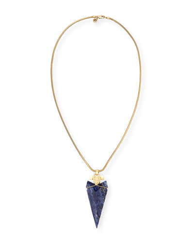 Sodalite Arrowhead Pendant Necklace, 32