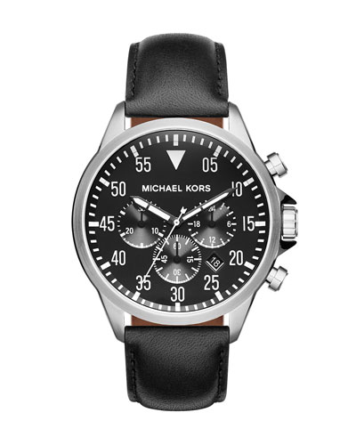 45mm Gage Leather Strap Watch, Black
