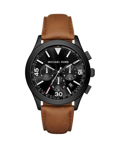 Gareth 43mm Leather Strap Watch