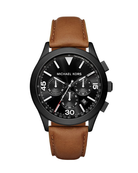 Michael Kors Gareth 43mm Leather Strap Watch