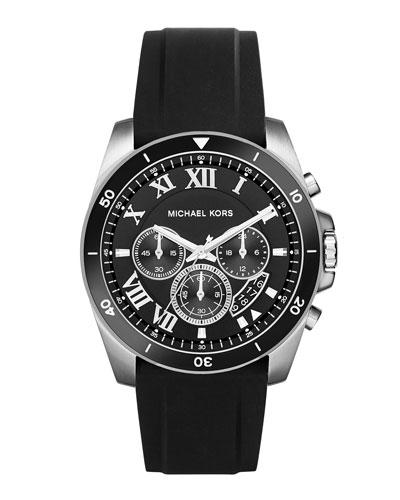 Brecken 44mm Silicone Strap Watch, Black