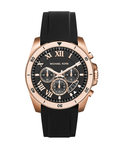 Brecken 44mm Stainless Steel Watch, Rose Golden