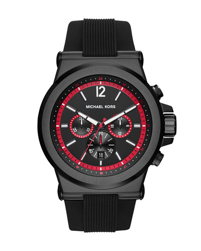 Dylan 48mm Stainless Steel Chronograph Watch, Black/Red