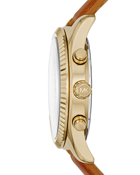 Lexington 44mm Leather Strap Watch