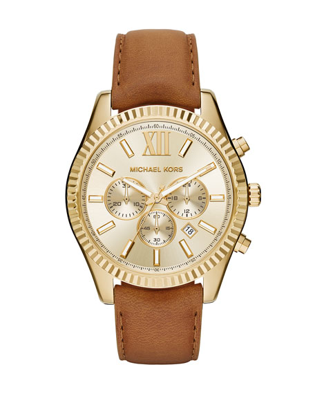 Michael Kors Lexington 44mm Leather Strap Watch