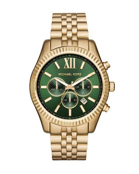 Michael Kors 44mm Lexington Bracelet Watch, Golden/Green