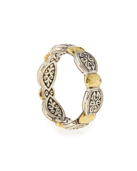 Aspasia Silver & 18k Gold Band Ring, Size 7