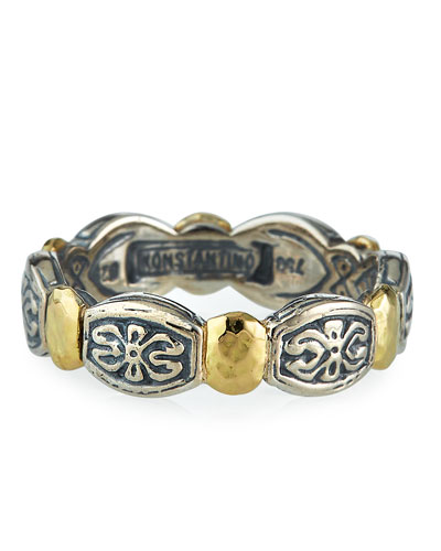 Aspasia Silver & 18k Gold Band Ring  Size 7