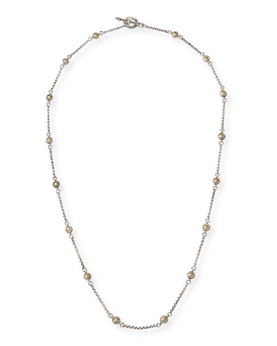 Aspasia Silver & 18k Hammered Bead Necklace