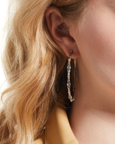 SS & 18k Gold Large Hoop Earrings