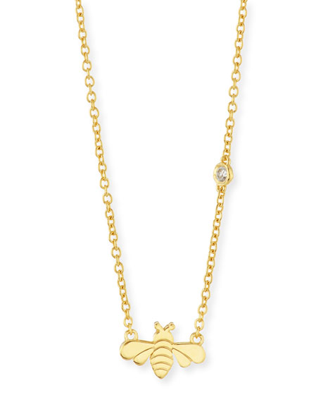 SHY by SE Bee Bezel-Diamond Pendant Necklace