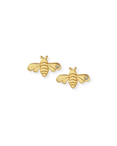 SHY by Sydney Evan Bee Bezel-Diamond Stud Earrings