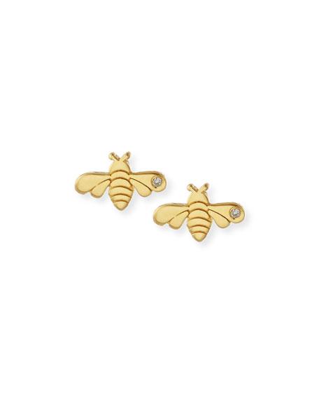 SHY by SE Bee Bezel-Diamond Stud Earrings