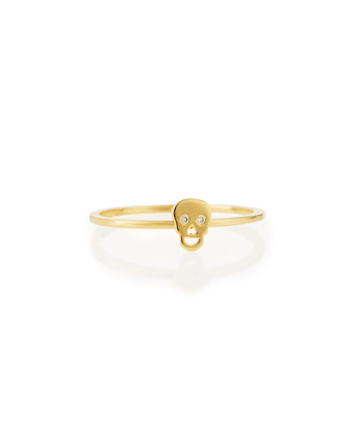 Bezel Diamond Skull Ring, Yellow Gold Plate