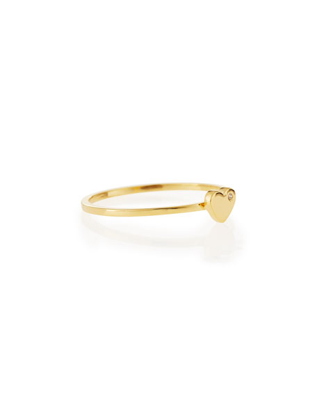 Bezel Diamond Heart Ring, Yellow Gold Plate