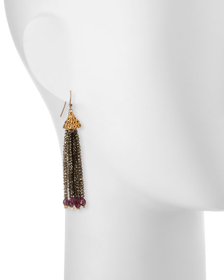 Pyrite and Garnet Fringe Earrings