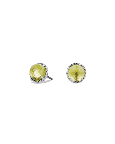 8mm Chatelaine Lemon Citrine Button Earrings