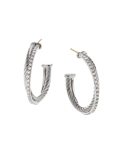 Crossover Hoop Earrings with Diamonds
