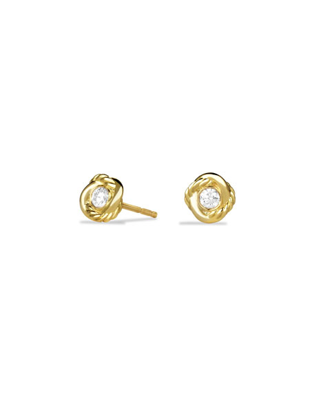 DAVID YURMAN 18K Gold Infinity Diamond Stud Earrings