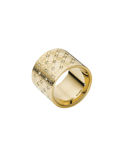MK Pave Monogram Ring, Golden
