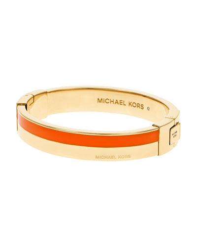 Logo Hinge Bangle Bracelet, Golden/Orange