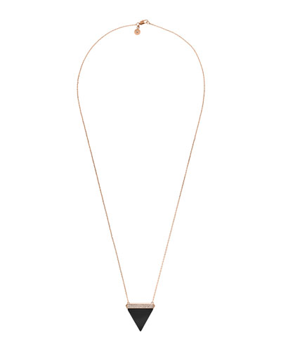 Pave Triangle Pendant Necklace, Onyx