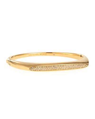 Pave Tribal Hinge Bangle Bracelet, Golden