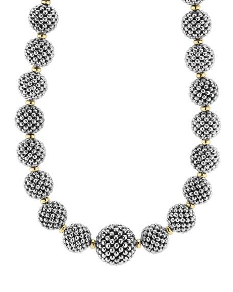 """Sterling Silver Caviar Lattice Ball Necklace, 17"""""""
