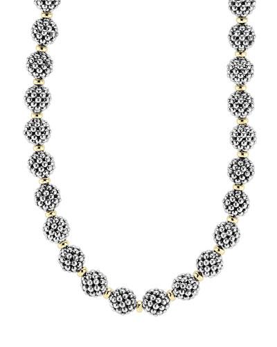 Sterling Silver 10mm Caviar Lattice Ball Necklace, 24