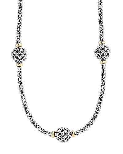 10mm Caviar Lattice Station Necklace, 16