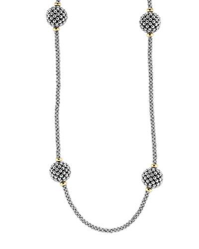 13mm Caviar Lattice Station Necklace, 32