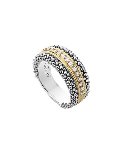 Pavé Diamond Caviar Band Ring, Size 7