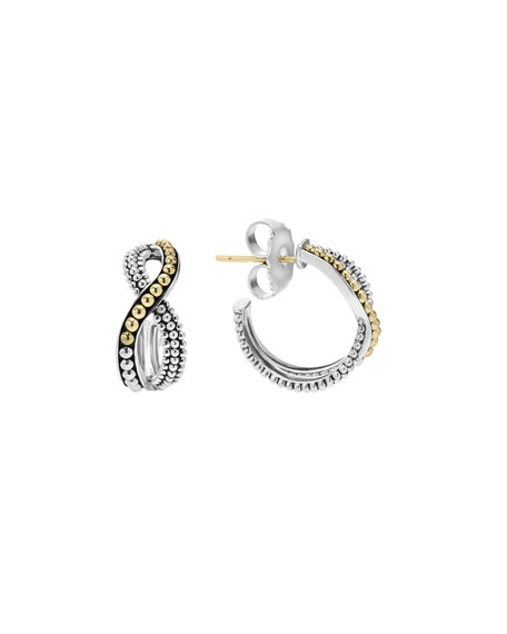 Sterling Silver & 18K Infinity Twist Hoop Earrings